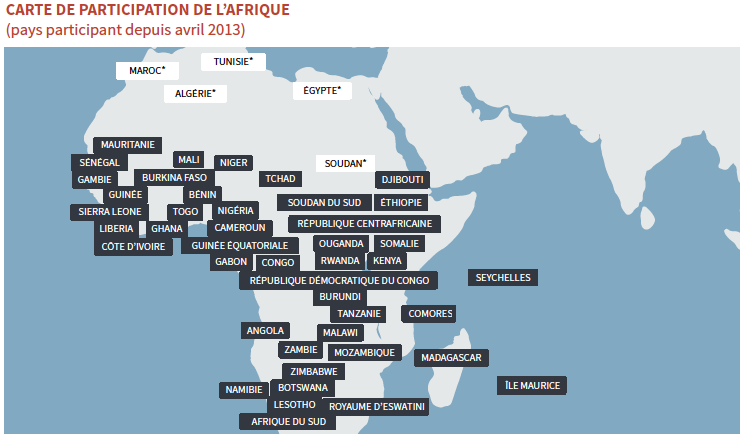 Africa Engagement Map (participating countries since April 2013)