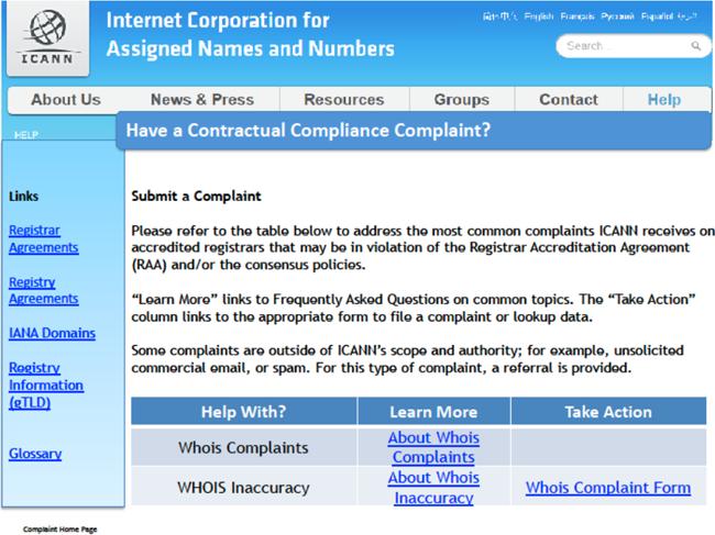 Contractual Compliance Complaint Landing Page