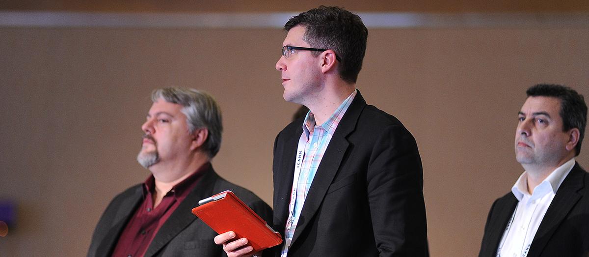 Photo of Christian Dawson addressing ICANN Board during Public Forum