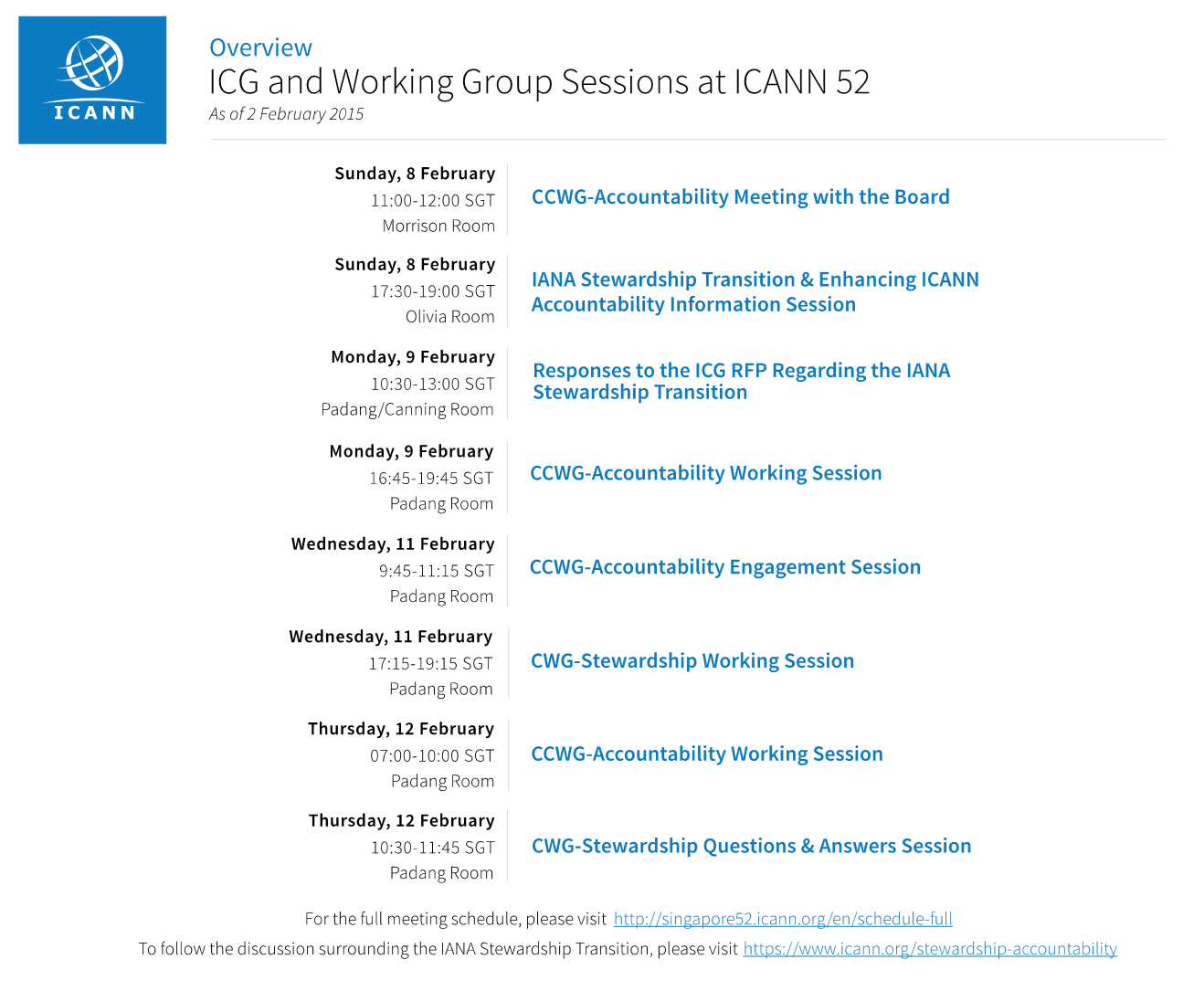 Overview: ICG and Working Group Sessions at ICANN 52 - As of 2 February 2015