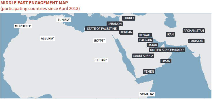 Middle East Engagement Map (participating countries since April 2013)