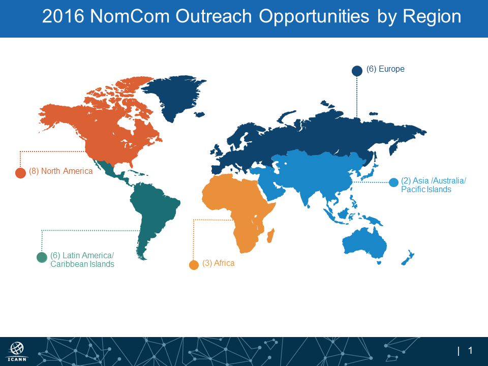 2016 NomCom Outreach Opportunities by Region