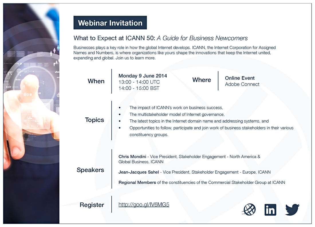 ICANN Webinar Invitation -  What to Expect at ICANN 50: A Guide for Business Newcomers