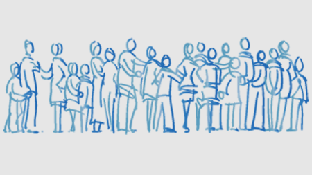 A drawing of a group of people individually outlined in blue