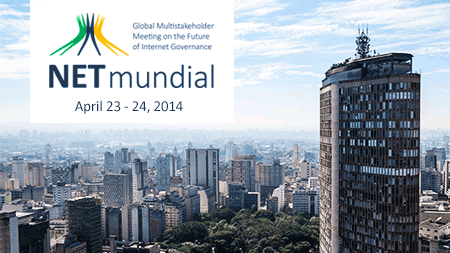 In the background an image of São Paulo, Brazil. In the foreground the text 'Global Multistakeholder Meeting on the Future of Internet Governance | NETmundial | April 23-24 2014'
