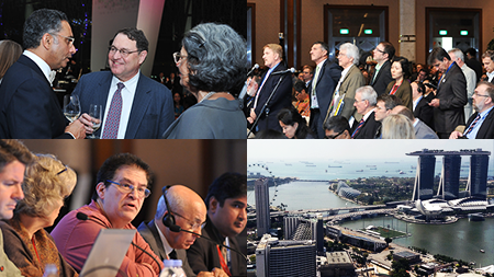 A 2x2 grid of images from the ICANN49 Singapore meeting