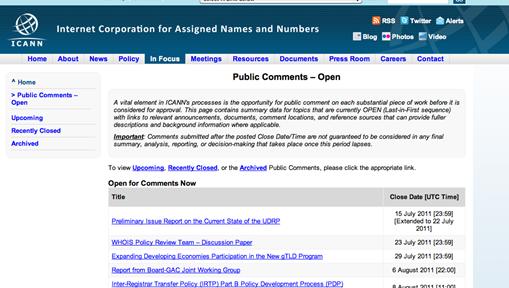 ICANN Public Comment Page