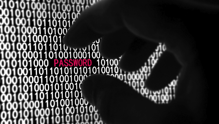A black gloved hand reaching towards the word, 'PASSWORD' in pink, which is surrounded by wall of binary numbers