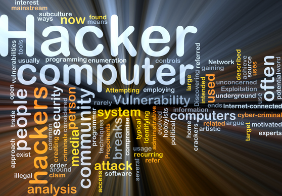 A Word Cloud of words related to hacking and computers, with 'Hacker' and 'computer' the most prominent words