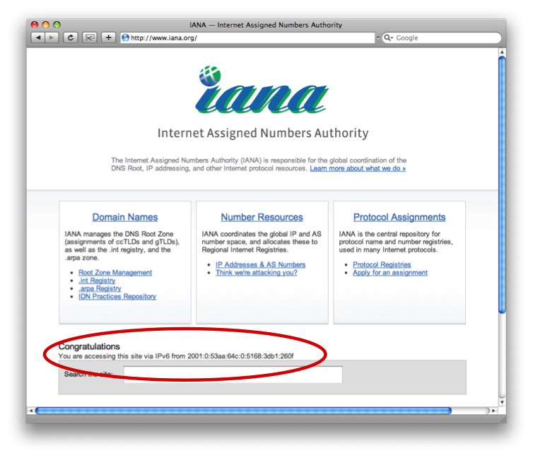 IANA Web Site via IPv6