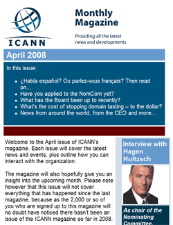 April issue of ICANN magazine