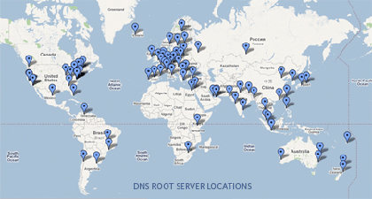 ICANN list of Root Nameserver locations