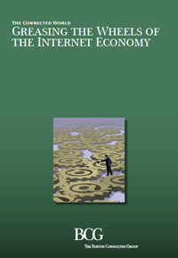 An image showing the green cover of the new report by Boston Consulting Group, titled 'Greasing the Wheels of the Internet Economy'