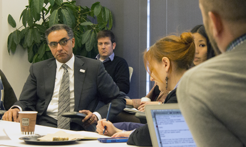 Members of civil society and academic organizations discussing the issues most important to them in a face-to-face meeting with ICANN President Fadi Chehadé at ICANN's Washington, DC engagement office.