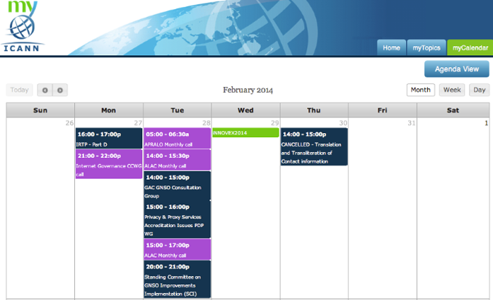 A screenshot of the myICANN calendar