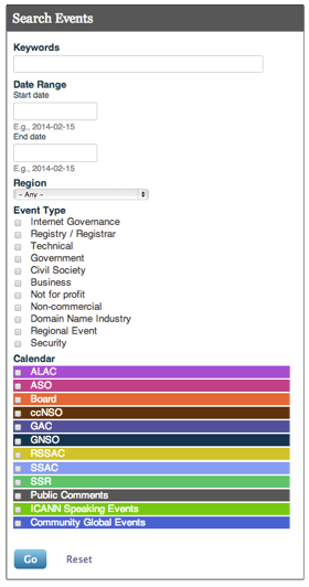 A screenshot of the search feature on the myICANN calendar
