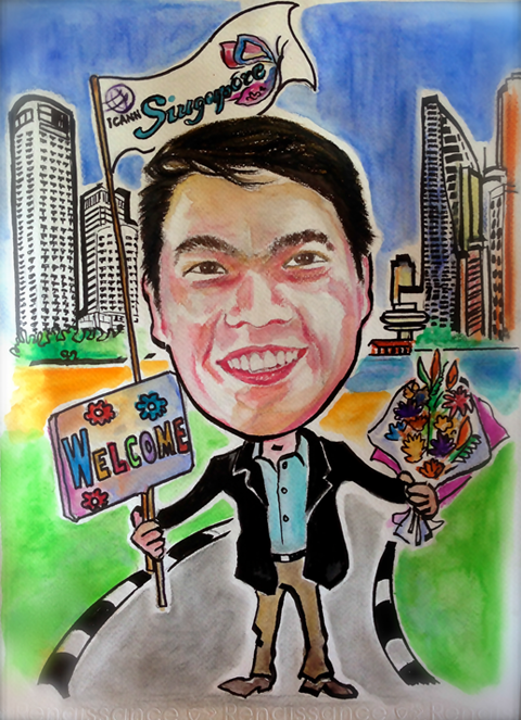 A drawing of Kuek Yu-Chuang holding flowers in left hand, a welcome sign in right hand, an ICANN49 Singapore flag and city landscape in the background.