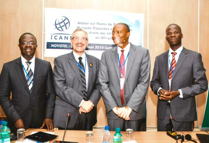ICANN Staff at Benin Workshop; Yaovi Atohoun, Pierre Dandjinou, Bob O'Chieng and David Olive